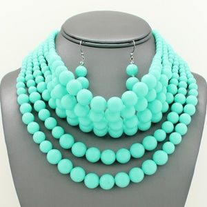 Turquoise Pearl Choker Necklace Set
